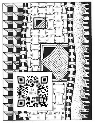 ekslibris w stylu Zentangle z kodem QR
