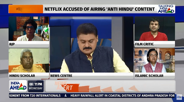 Film Critic Murtaza Ali Khan participating in a live television discussion on India Ahead News