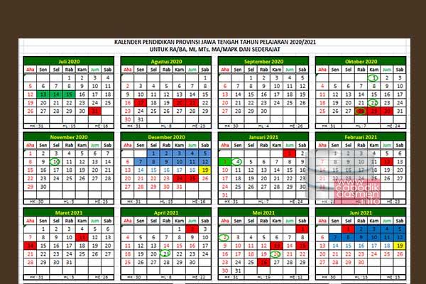 Kalender Pendidikan Madrasah Jawa Tengah Tahun Pelajaran 2020-2021 merupakan Kalender Pendidikan Provinsi Jawa Tengah 2020/2021 besutan Kanwil Kemenag Jateng untuk RA dan Madrasah