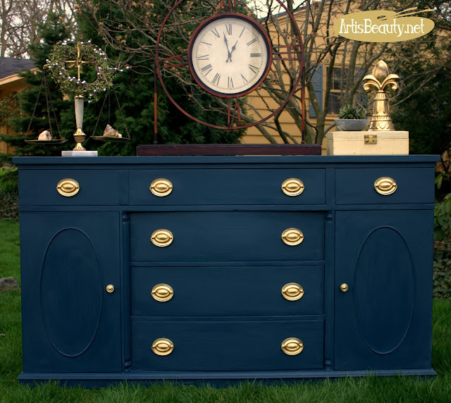 http://www.artisbeauty.net/2016/05/steel-blue-antique-buffet-makeover.html
