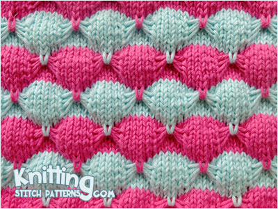 Scallop Shell knit pattern. Two color Slip Stitch Knitting. Includes text and video tutorial