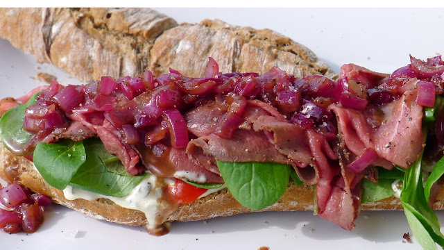 Roast Beef Baguette with Pickles and Red Onion Relish