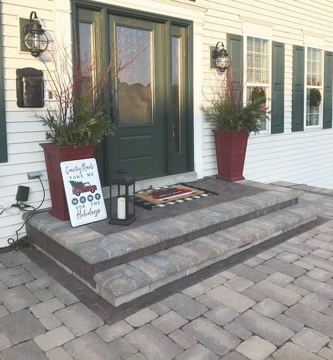 Simple Country Christmas Front Door Decor by Far Ago Farm featured at Pieced Pastimes