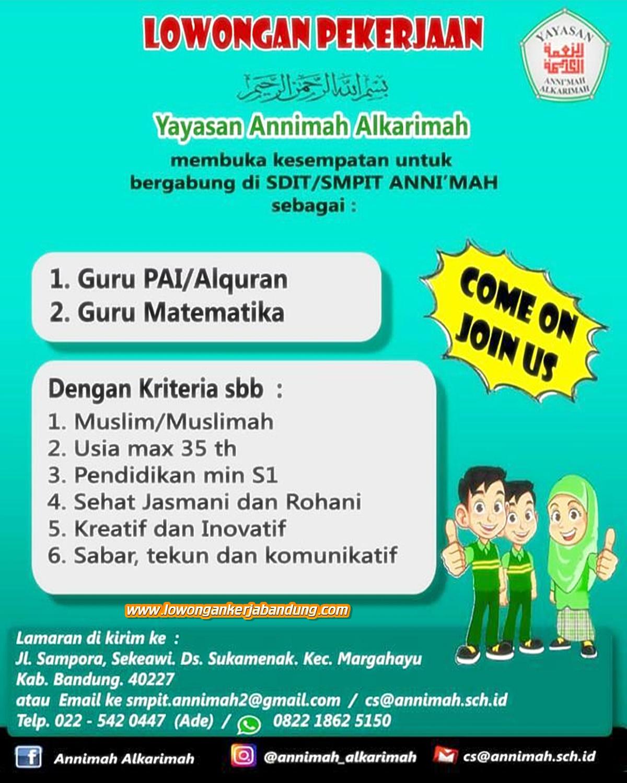 Lowongan Kerja Bandung Guru Yayasan Annimah Alkarimah Lowongan Kerja Bandung Lowongankerjabandung Com