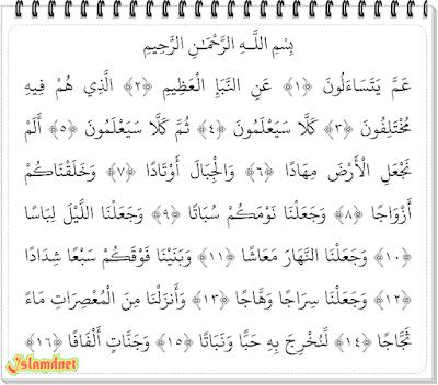 ayat dan termasuk golongan surah Makkiyyah Surah An-Naba' dan Artinya