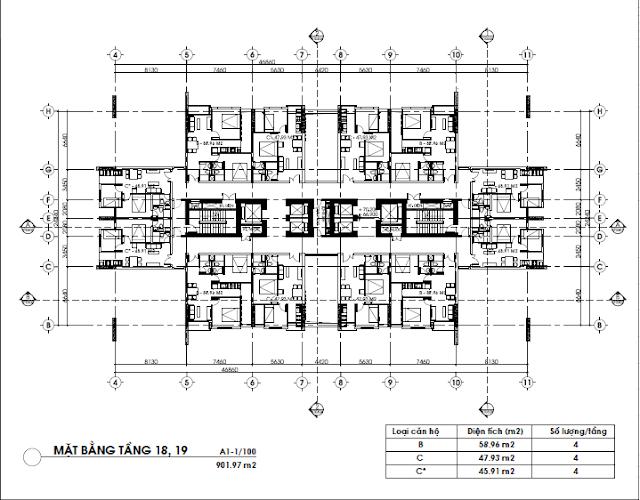 Mặt bằng tầng căn hộ 18 và 19, FLC Green Home
