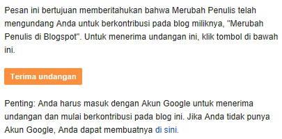 Kotak masuk email tentang undangan menjadi pengarang blog