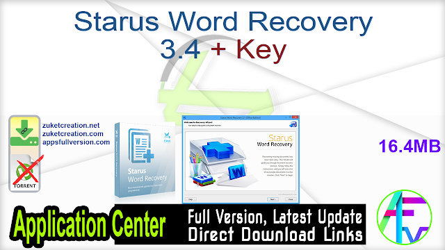 Starus Word Recovery 3.4 + Key