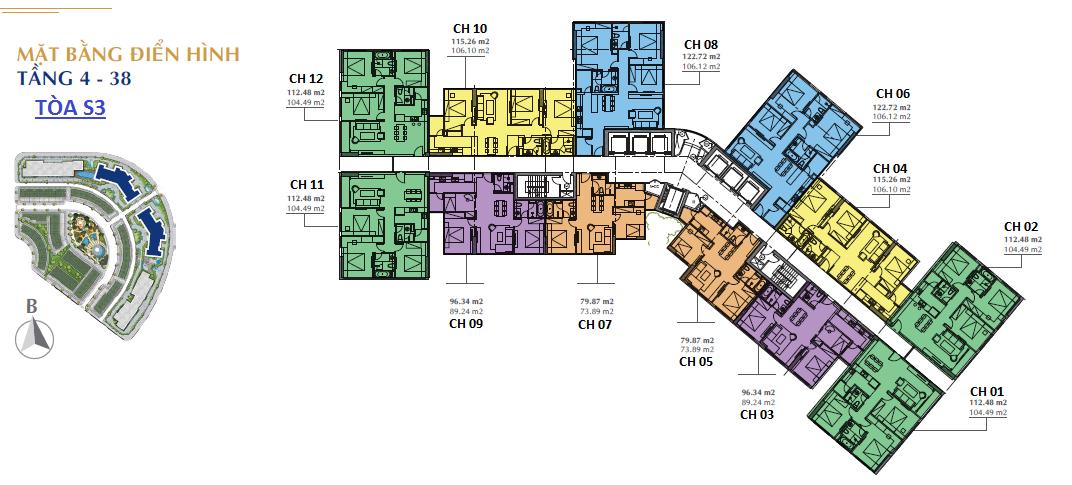 Mặt bằng điển hình tòa S3 chung cư Sunshine City