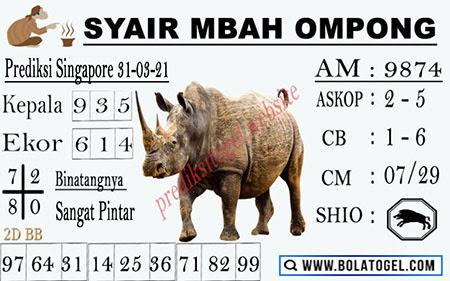 Syair Mbah Ompong SGP Rabu 31-Mar-2021