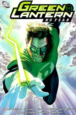 GL Hal Jordan flying through clouds against a blue sky
