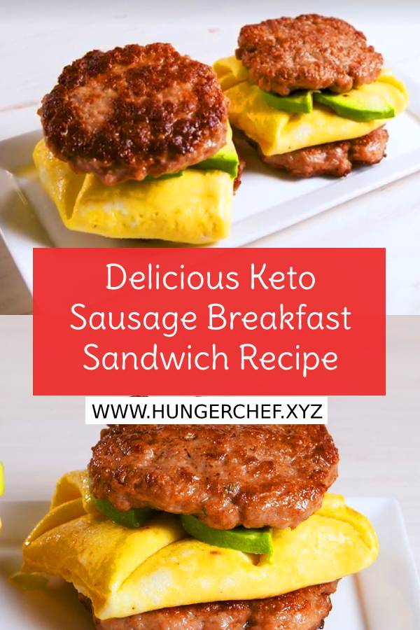 Delicious Keto Sausage Breakfast Sandwich Recipe #keto #ketobreakfast #breakfast #easybreakfastrecipe #healthybreakfastrecipe #sandwich #brunch #healthybreakfast #sausage #delicious #hungerchef