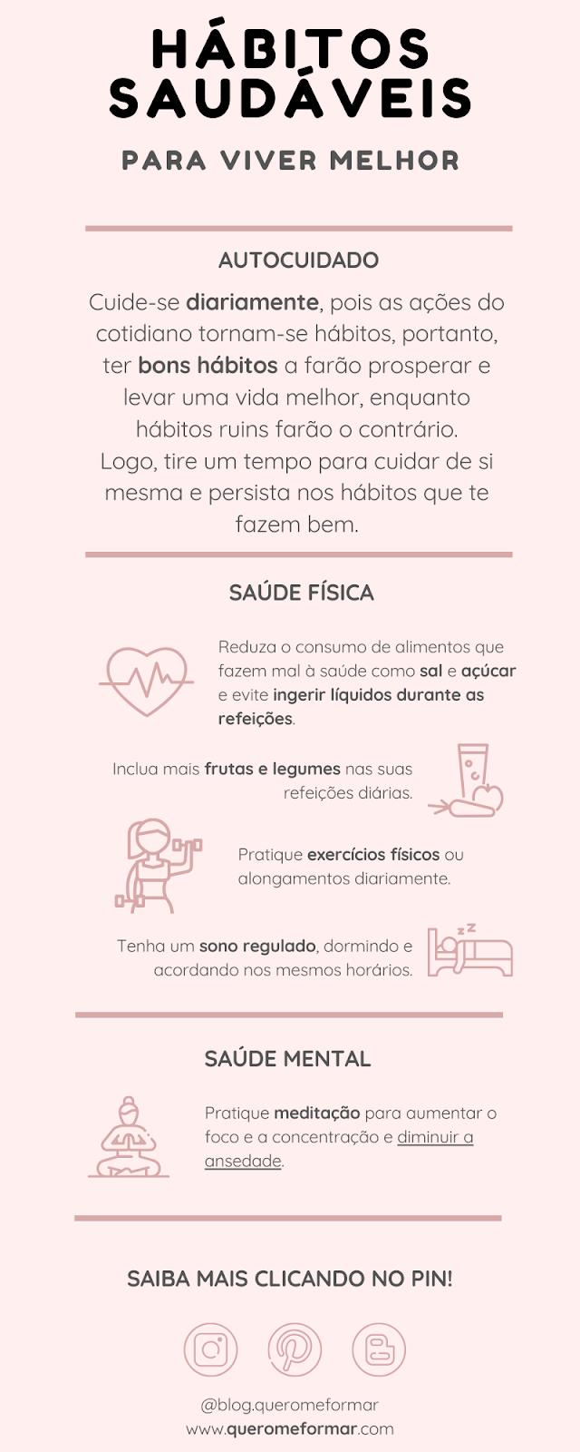 Infográfico 5 Hábitos Saudáveis para Uma Vida Melhor e Mais Feliz