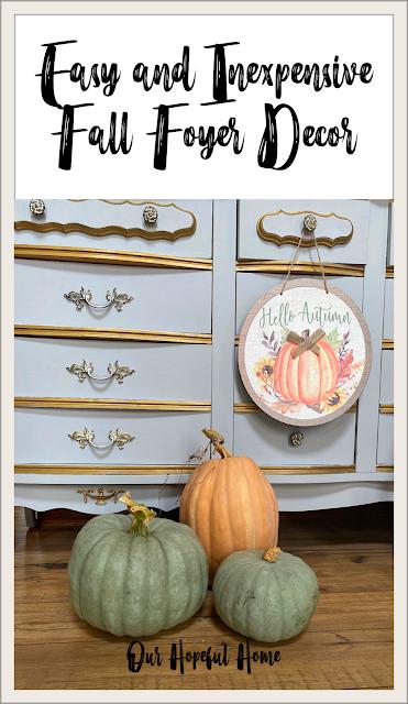 heirloom pumpkins fall pumpkin sign French dresser