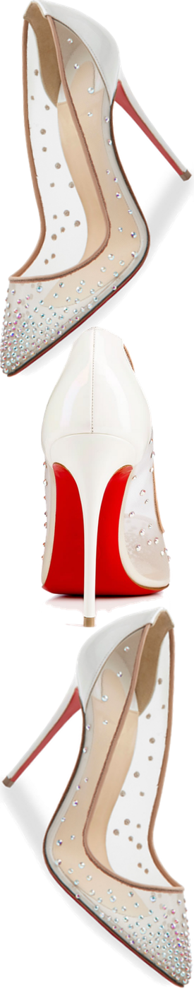 Christian Louboutin Follies Strass 100mm Red Sole Pump, White/Nude