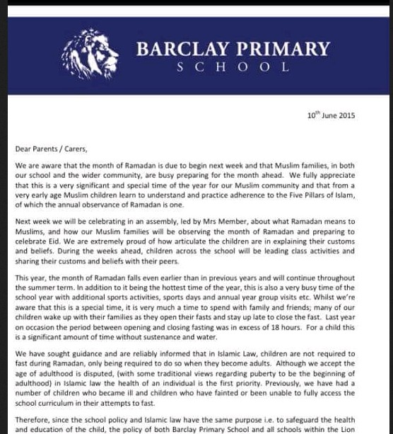 Barclay Primary School, London Don`t Allow Fasting