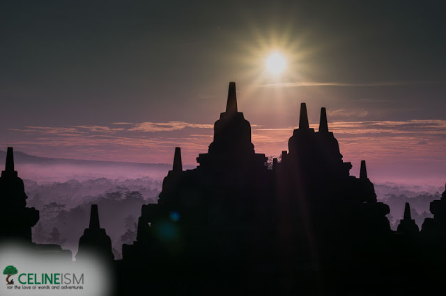 borobudur sunrise stupas