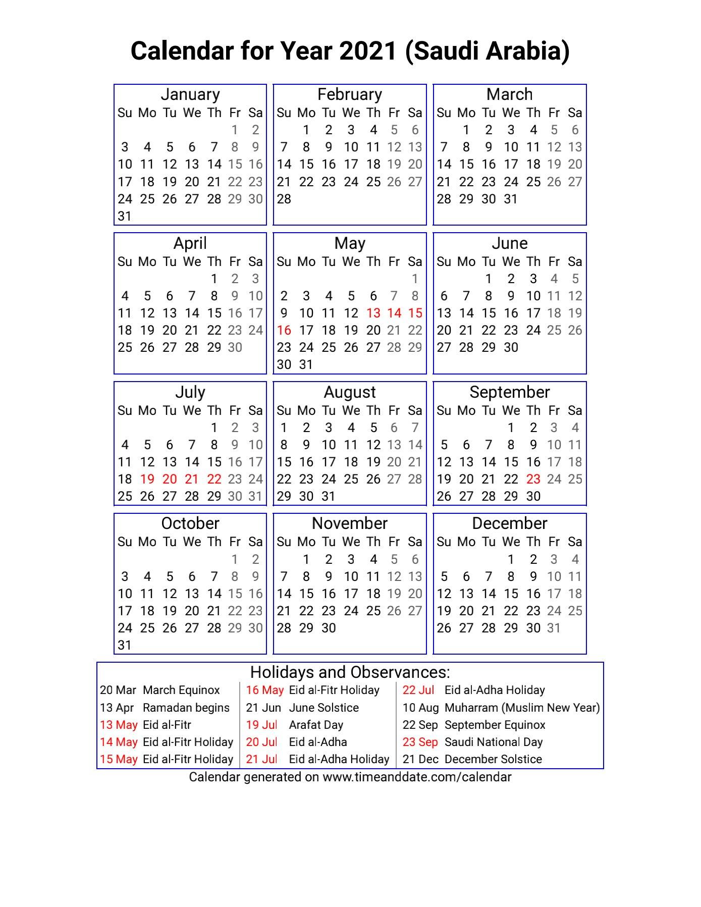 تقويم المناسبات السعودية 2021