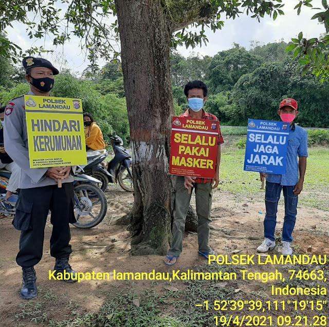 Cegah Penyebaran Covid 19, Polsek Lamandau Sosialisasikan Prokes Di Pedesaan