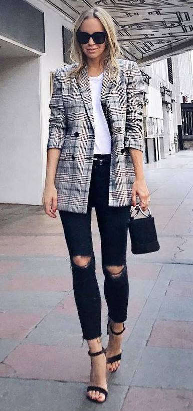 how to style ripped jeans : plaid blazer + bag + top + heels