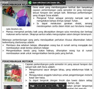 Contoh Raport PAUD Kurikulum 2013 (Buku Raport)
