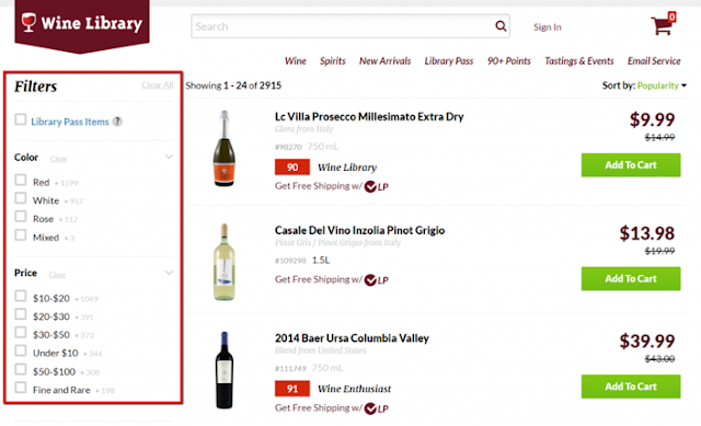 Hicks Law Implementation in Wine Library Website