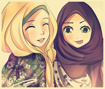 gambar kartun persahabatan muslimah