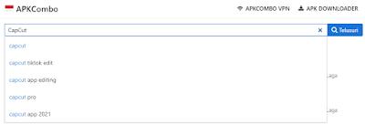 search capcut on search box