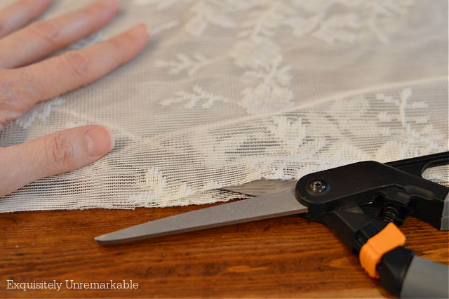Cutting a lace curtain panel