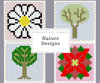 http://www.thecraftyco.com/nature-crochet-charts/