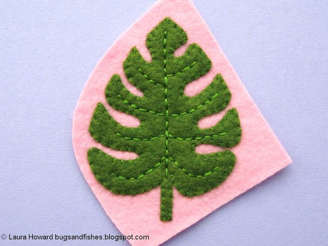 Felt Monstera Leaf Brooch Tutorial: embroider the leaf