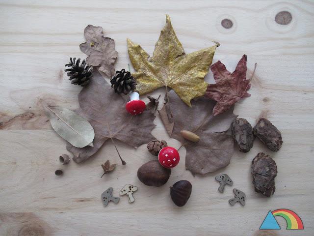 Elementos otoñales: hojas secas, castañas, setas de madera, capuchones de bellotas...