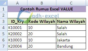 rumus IF dan VALUE dalam Excel