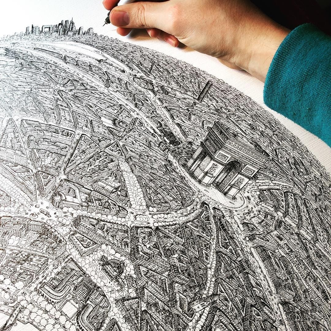 04-Paris-Arc-De-Triomphe-Jeff-Murray-Detailed-Miniature-Real-and-Imaginary-Urban-Drawings-www-designstack-co