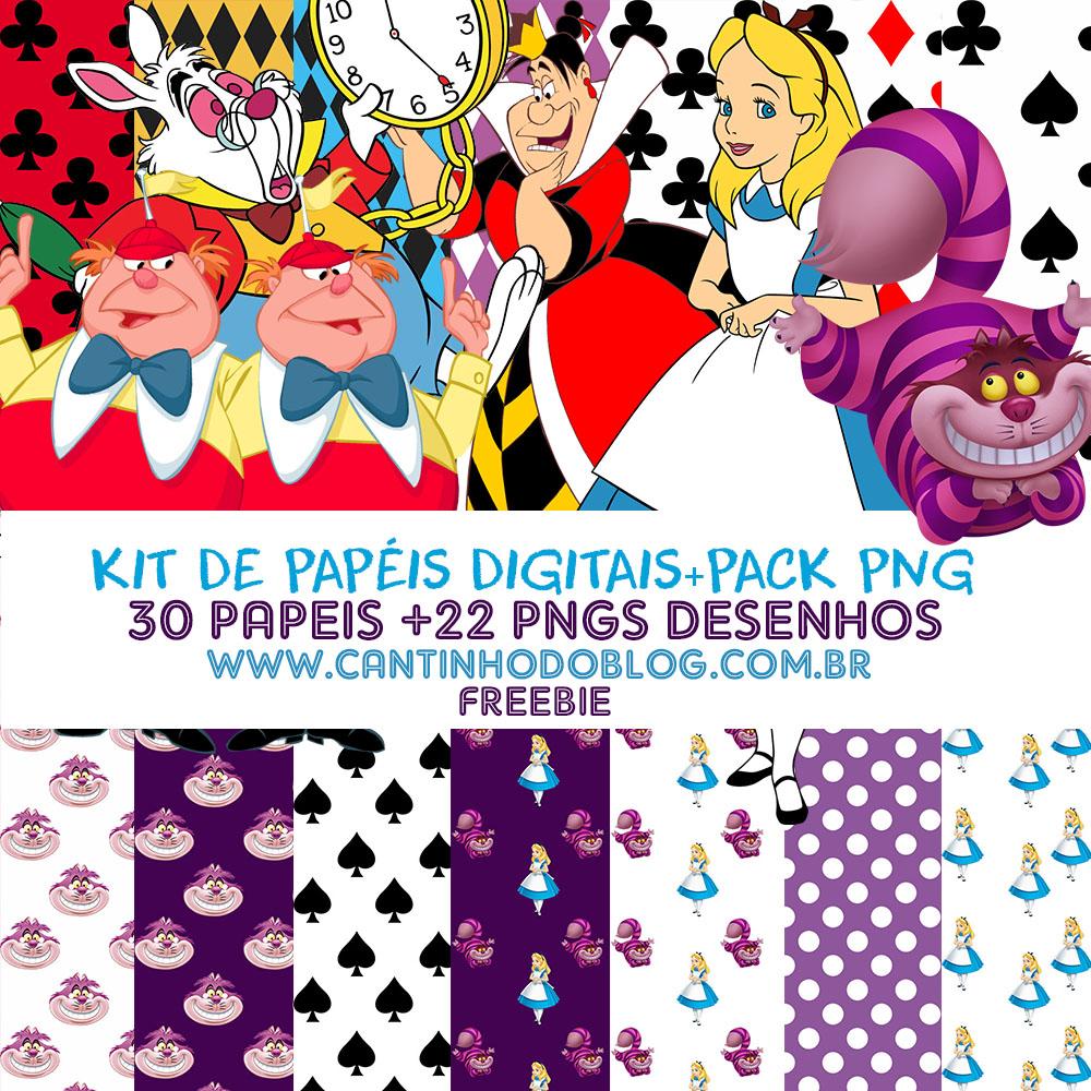 Favoritos Kit de papeis Digitais Alice no País das Maravilhas + Pack png  DZ55
