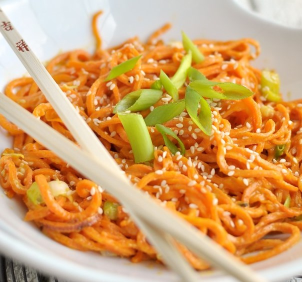 SESAME SWEET POTATO NOODLES #vegetarian #glutenfree