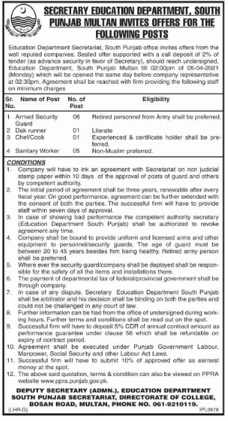 Education Department Secretariat Jobs 2021 Multan | South Punjab