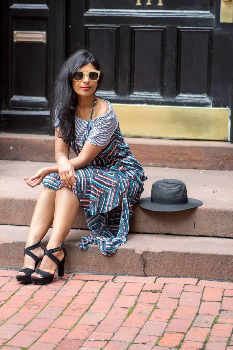 fashion over 40, petite fashion, casual style, weekend outfit, weekend style, maxi dress, brunch style, red lips, retro sunglasses, stripes, petite style, personal stylist,