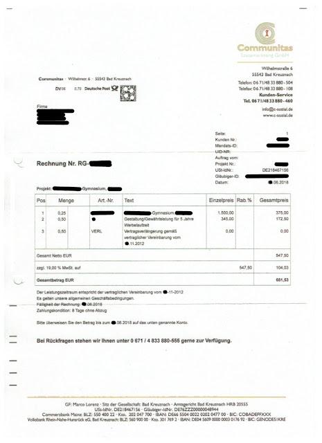 Scan: Rechnung Communitas Sozialmarketing GmbH / Juni 2018