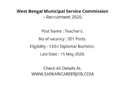 WBMSC Recruitment 2020 Apply Online | 201 Teachers Post WBMSC Latest Govt Jobs.