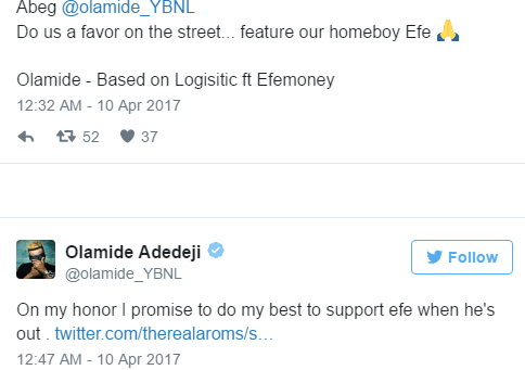 I Promise To Support Efe Outside The Big Brother House -Olamide -
