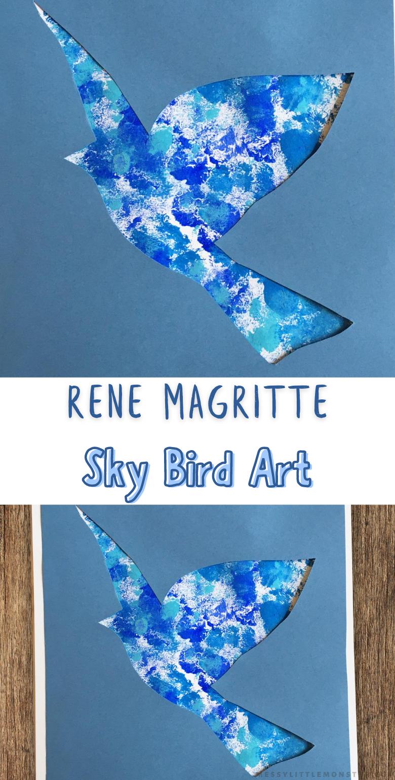 Bird template for bird art project. Easy bird craft. Rene Magritte for kids.