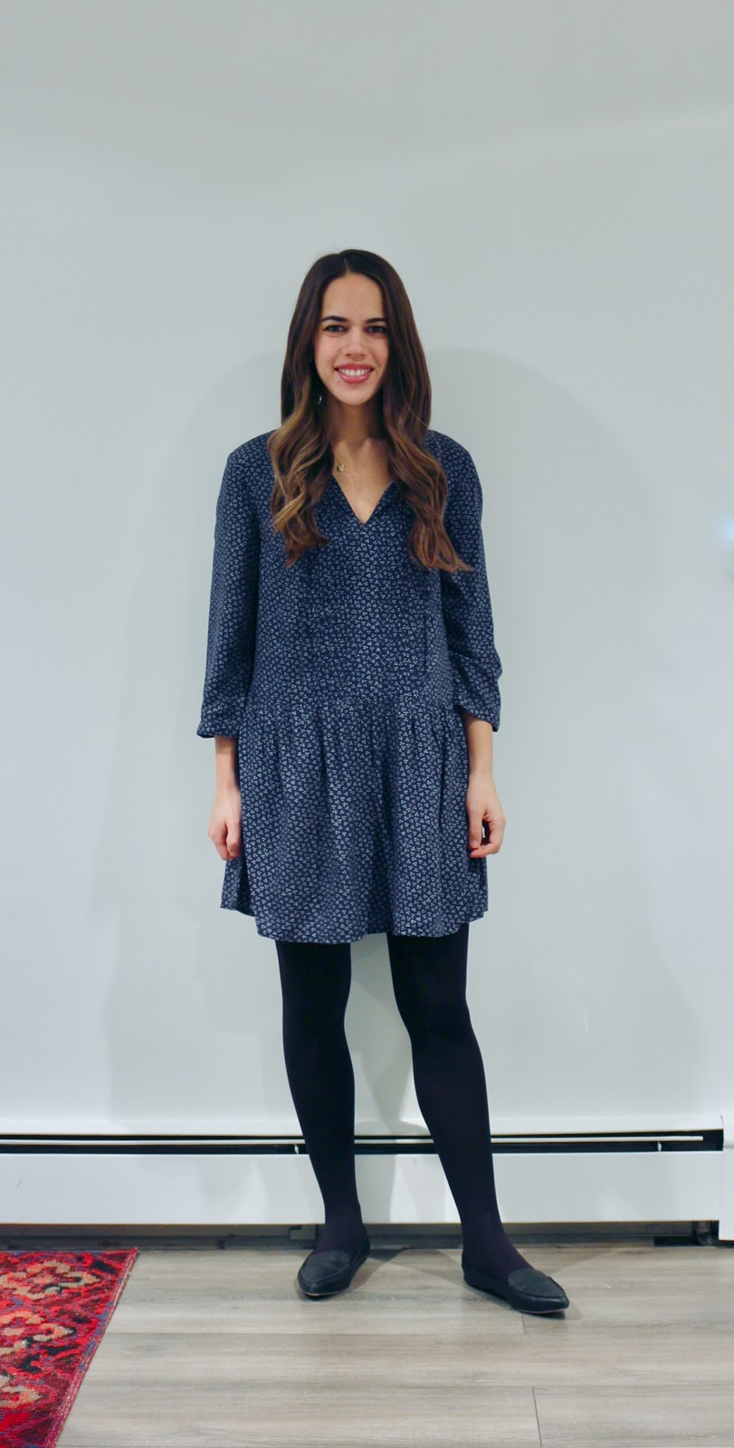 Jules in Flats - Old Navy Pleated Tie Neck Swing Dress (Business Casual Winter Workwear on a Budget)