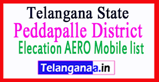 Peddapalle District Elecation AERO Mobile list in Telangana State