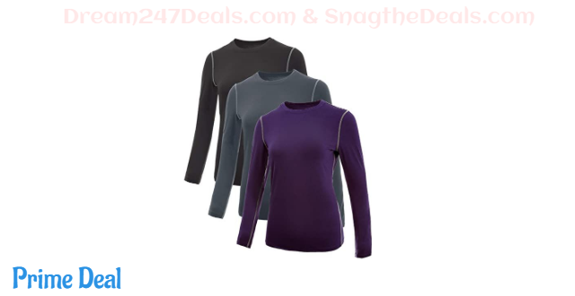 40% OFF 3 Pack Women's Dry Fit Home Workout Compression Shirts