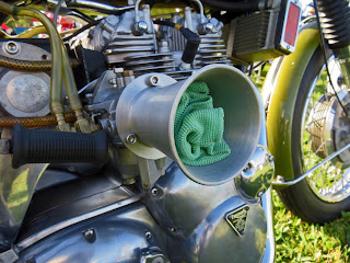 Large air inlet on motorcycle supercharger.