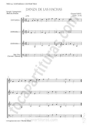 """1 Partitura para tres guitarras y bajo. Partituras del Trío de Guitarra para la composición """"La Danza de las Hachas"""" Guitar trio + bass sheet music"""