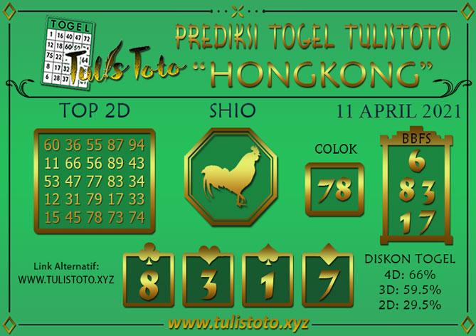 Prediksi Togel HONGKONG TULISTOTO 11 APRIL 2021