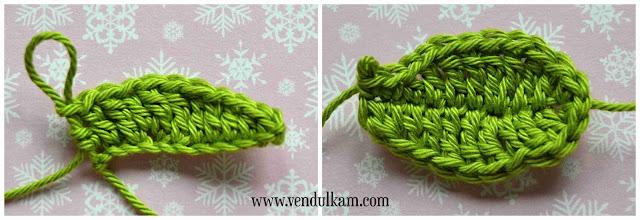 Crochet holly flower applique - free crochet pattern by VendulkaM