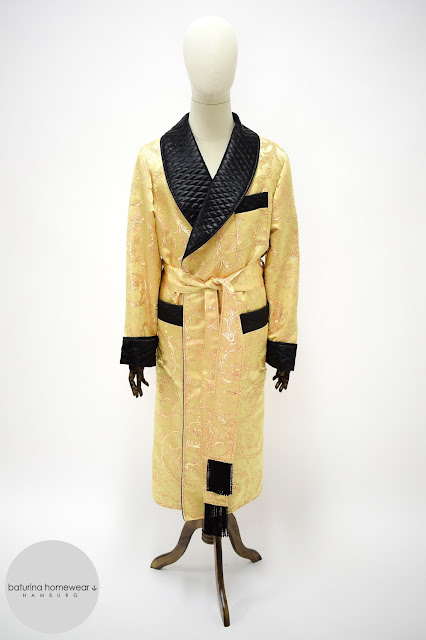 mens paisley silk robe gold black quilted dressing gown smoking jacket